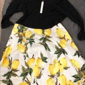 Dresses & Skirts - New black and white and lemon dress